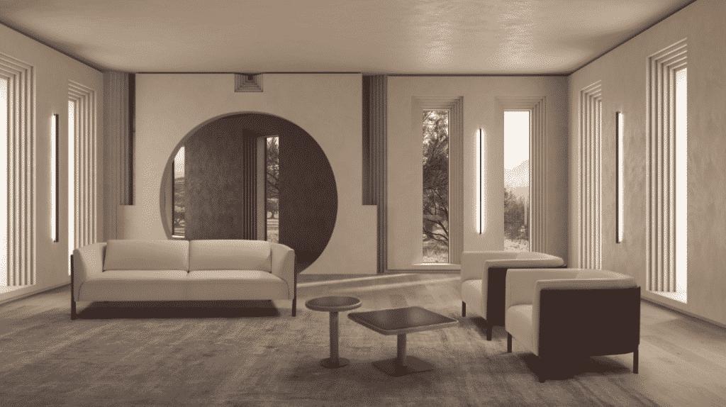 La colección de muebles Amanda revaloriza las líneas del diseño de mobiliario contemporáneo y juega con la combinación de acabados y superficies redondeadas.