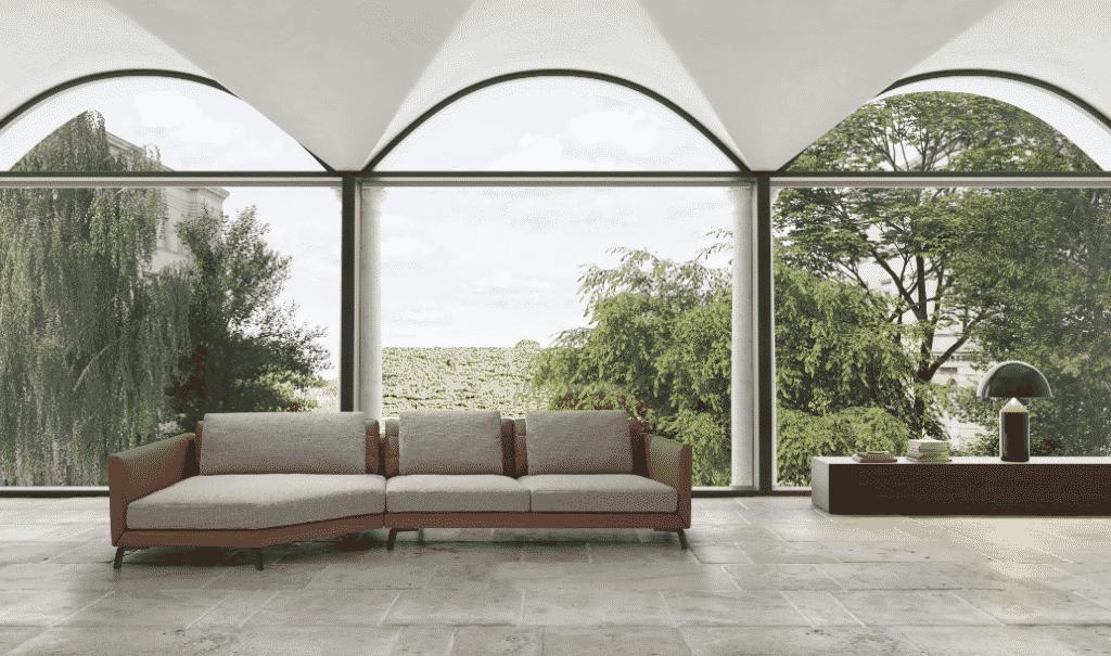 La colección de muebles Dolce Vita combina pieles y tejidos de origen 100% italiano para ofrecer calidez, comodidad y elegancia.